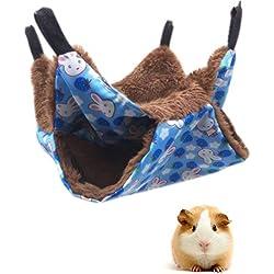 MQUPIN Lit hamac Double Couche pour Animal Domestique, lit Chaud à Suspendre pour Furet/écureuils/Chinchillas/Hamster/Autres Petits Animaux (Bleu)