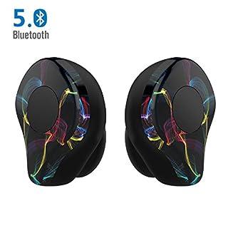 LEZII True Wireless Earbuds Drahtlose Ohrhörer Bluetooth 5.0 Stereo Ohrhorer Bilateral Headset Anruf IPX5 48 Stunden Spielzeit Schnurlose Bluetooth Kopfhörer mit Mikrofon Tragbare Lade Box(Schwarz)