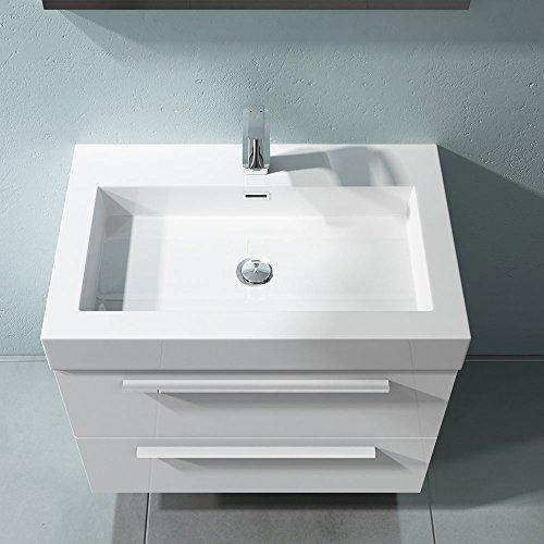 Waschbecken mit Unterschrank 73 cm Quadratto Badmöbelset 2-teilig mit Waschschale Mineralguss 2 Schubladen in Weiß