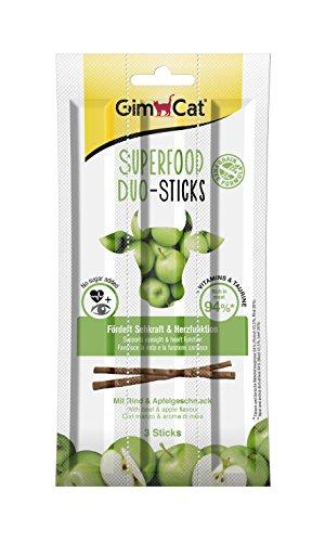 GimCat Superfood Duo-Sticks Kausnacks mit Rind und Apfelgeschmack/Hochwertige Katzenleckerlies ohne Zusatz von Zucker & Getreide mit hohem Fleischanteil/24 Packungen (24 x 15g)