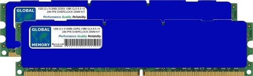 GLOBAL MEMORY 1GB DDR2 1066MHz PC2-8500 240-PIN DIMM OVERCLOCK ARBEITSSPEICHER RAM KIT FÜR PC DESKTOPS/MAINBOARDS -