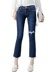 Mena UK- Nueve Puntos Micro-La Jeans Mujeres El Zorro Tiene Un Agujero En La Cabeza En La Cintura Delgado Era Delgado Bell-bottoms ( Color : Azul , Tamaño : 27 )