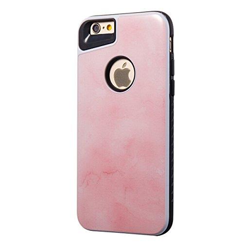iphone 8 4.7 Custodia, iphone 7 Silicone Cover, Ekakashop Moda Lusso Marmo Modello Disegno PC & TPU 2-in-1 Epoxy Mestieri Morbido Rigida Cassa del telefono per iphone 8 3D Gel Silicone Gomma Cover, P 2-in-1--Rosa tenero