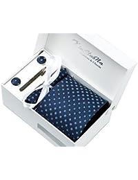 Bleu Foncé avec points clairs Ensemble Cravate d'homme , Mouchoir , épingle et boutons de manchette coffret cadeau