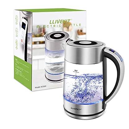 Llivekit-Glas-Wasserkocher-17-Liter-Elektrischer-Wasserkessel-Einstellbare-Temperatur-LED-Innenbeleuchtung-Warmhaltefunktion-und-Trockenlaufschutz-2200-Watt