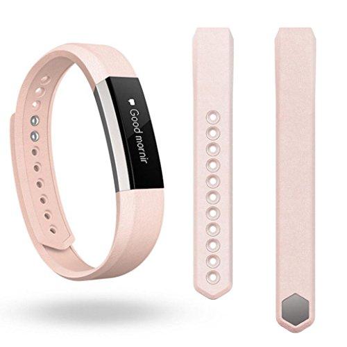 Fitbit Alta, LHWY Recambio de Lujo Cuero Pulsera Correa (Rosa)
