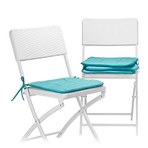 Relaxdays Stuhlkissen 4er Set in Türkis, Sitzkissen mit Schleife, Auflage