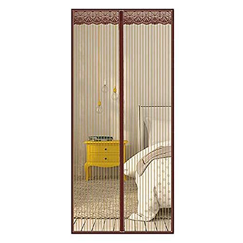 Tür Bildschirme Für Aushalten Fliegen, Verschlüsselung Mesh-Vorhang Mit Schweren Pflicht Mesh, Hände Frei | Haustierfreundlich-Brown 130x220cm(51x87inch)