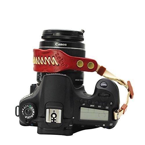 TAYCYXGAN Vintage Kameragurt Leder Kamera Handgelenk Schultergurt Kamera Handgelenk Armband für SLR Digitalkameras Mikro-Kamera Rot (Canon-kameras Digitale Slr 5d)