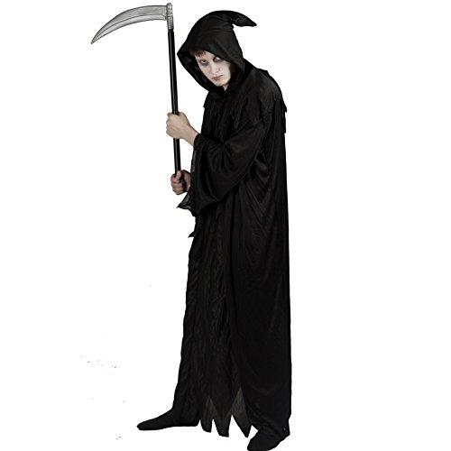 ILOVEFANCYDRESS - Costume da morte per adulti, uomo, perfetta per carnevale o halloween, tessuto dentellato e cappuccio, taglie S - XXL, colore: Nero
