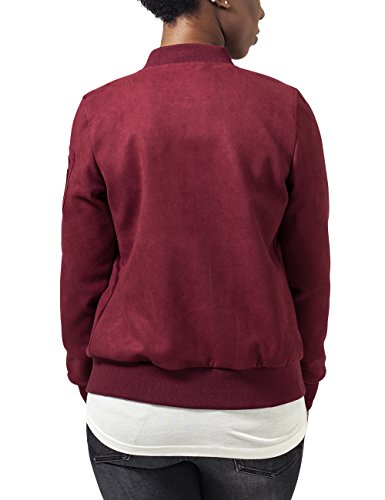 Urban Classics Ladies Imitation Suede Bomber Jacket, Blouson Femme Rouge - Rot (Burgundy 606)