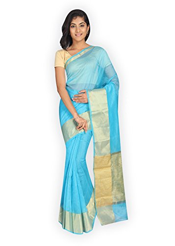 Pavecha's Banarasi Cotton Net Solid Saree - Ameer Dno 1767 Blue MK3022  available at amazon for Rs.482