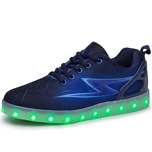Aizeroth-UK Enfants LED Chaussures de Sport 7 Changement de Couleur Chaussure USB Rechargeable Clignotant Baskets Ultra-Léger Respirante Gymnastique Sneakers Garçon Fille…