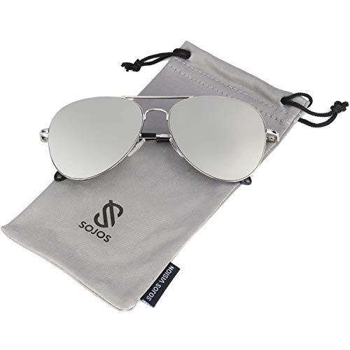 SOJOS Mode Metallrahmen Verspiegelt Linse Herren Damen Sonnenbrille mit Frühlings Scharnieren SJ1030 mit Silber Rahmen/Silber Linse