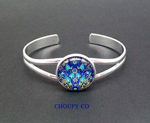 Pulsera rush, cabujón * colibrís * pájaros, flores, azul, amarillo, pulsera de plata ajustable, mujer, idea de regalo para ella.