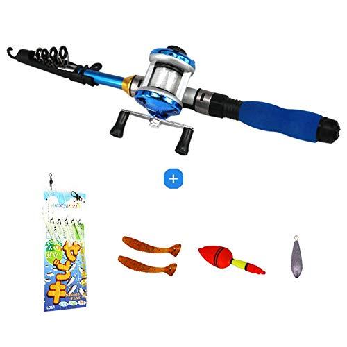 Ecisi Kinder Angelrute, leichte tragbare Teleskop-Angelrute und Angelruten-Kit für Kinder, Jugendliche