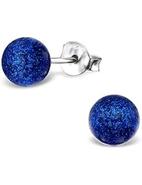Laimons Damen-Ohrstecker Damenschmuck Kugel Ball 6mm in Blau Glitzer Sterling Silber 925