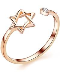 Chaomingzhen 925 Sterling Silber Zirkonia Stern öffnung Ringe Damen Einstellbare Größe Rose Vergoldet