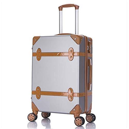"""Nuofake 20-Zoll-Studenten Machen Trolley 26-Zoll-Hochleistungs-Reisetasche Rollgepäck Spinner Retro-Rutschkoffer Räder unsere Koffer (Farbe : Silver, Luggage Size : 22"""")"""