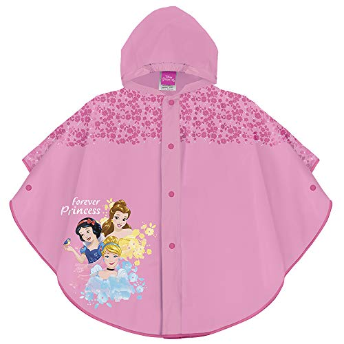 PERLETTI Disney Princess Waterproof Cape for Children -Cinderella Rapunzel Snow-White Rainproof Poncho with Fuchsia Flower with Hood and Buttons for Girls - 2 Size