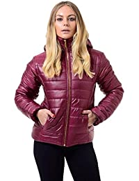 Neue Damen Shiny Wet Look Wetlook Puffer gesteppte Pelz mit Kapuze Frauen Blase Jacken-Mantel