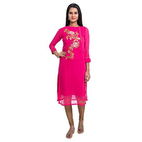 Zedd's Georgette Made Below Knee Length 3/4 Sleeve Pink Coloured Kurti For Women