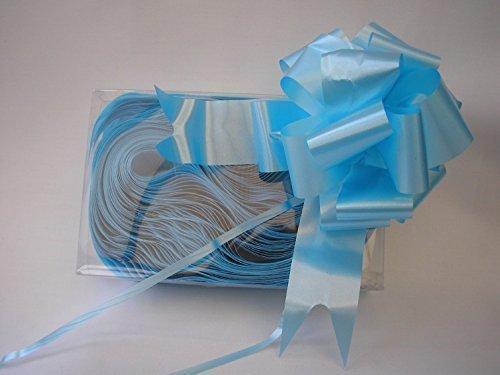 Fiocchi rapidi in raso da tirare (30 pezzi) 31mm azzurri larghezza 10cm da aperti per decorazioni, bouquet, auto matrimonio, cesti, natale