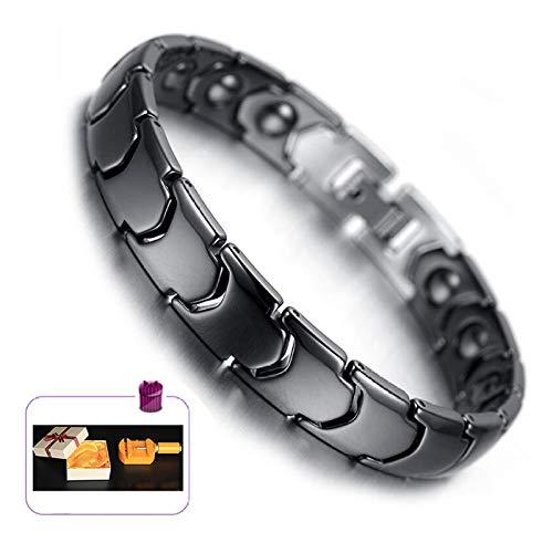HAIHF Magnet-Therapie-Armband, Keramik-Armband für Männer Gleichgewicht Magnete Schmerzlinderung für Arthritis und Karpaltunnel-Schwarz-Weiß (Free Link Removal Tool + Jewelry Box)