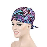 TENDYCOCO Operating Room Flower Cap Unisex Adjustable Surgical Hat Scrub Cap with Sweatband for Ponytail and Free Reusable Cotton Mask, One Size Fit Most Purple