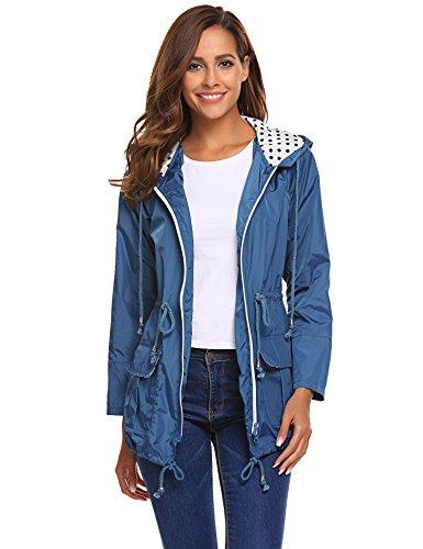 Beyove Damen Regenjacke Regenmantel mit Kapuze Tasche Funktionsjacke Regenparka Wasserdicht Atmungsaktiv