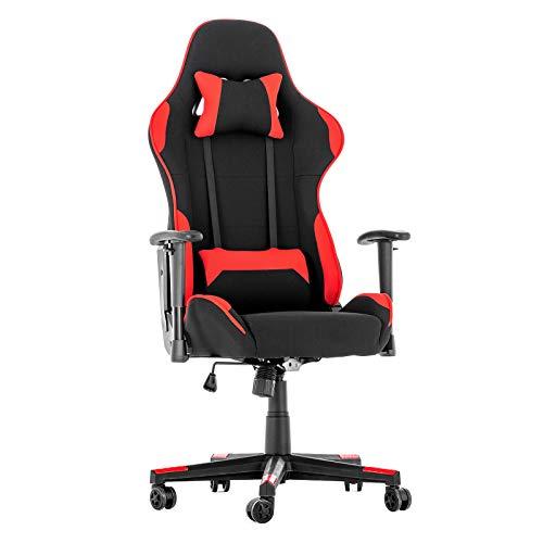 LAGRIMA Racer-X Gaming Stuhl Racing Stuhl Ergonomisches Design mit Hoher Rückenlehne, Verstellbare Kopf- & Lendenkissen, Höhenverstellbar, PC Stuhl im Rennstil für Gamer und Büropersonal Schwarz/Rot - Hohe Rückenlehne Ergonomischer Stuhl