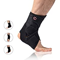 UncleHu Ankle Brace with Breathable Adjustable Ankle Stabilizer Support for Sports Injuries & Sprain Protection, Football, Basketball, Tennis, Running, Men & Women-One Size Black