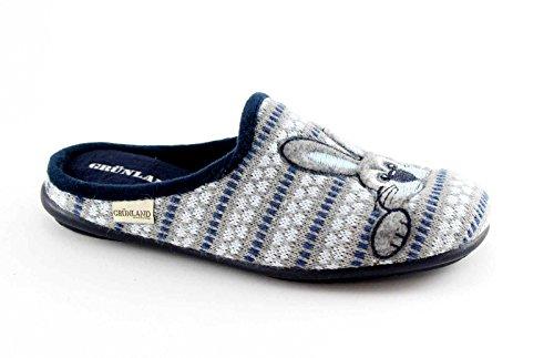 GRUNLAND FAYE CI1046 blu grigio ciabatte donna coniglio Grigio