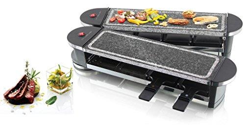 Emerio Raclette-Grill mit Natur-Stein Grillplatten für bis zu 8 Personen 1200 Watt Gelenk klappbar Heißer Stein