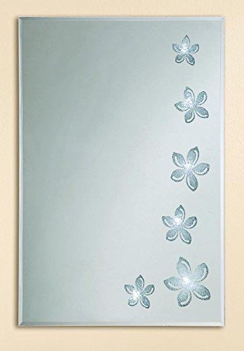 Gilde Handwerk Spiegel Glas LED Flowers Blume Facettenschliff Wandspiegel Kosmetikspiegel Garderobenspiegel 38652 Wanddeko Wanbild