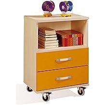Mesita sinfonier infantil con ruedas 55x78 cm. color haya con naranja, mesa niños