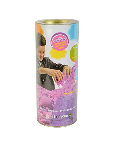 Jiada Ekta Active Never Dries Sand Clay, 2 Colours with 8 Moulds, 800G (Multicolour)