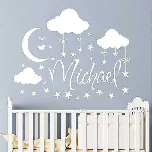 (Wandaufkleber Wolken Mond Sterne Personalisierte Baby Namen Kinderzimmer Dekor Angepasst Name Kinderzimmer Aufkleber)