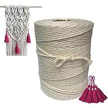Cuerda de hilo de macramé de algodón para colgar en la pared, 200 m,