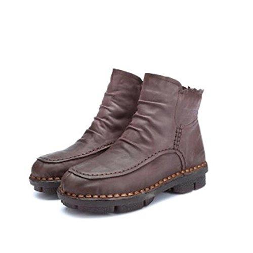 HSXZ Scarpe da donna in pelle di Nappa Autunno Inverno Comfort stivali Flat Round Toe stivaletti/stivaletti di abbigliamento casual caffè Rosso Giallo Nero viola Black