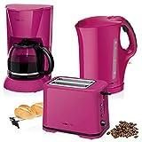 Set Frühstück, Kaffeemaschine 14Tassen, Brot 2Scheiben-Toaster, Wasserkocher 1,7Liter, Violett Colour Up Stil