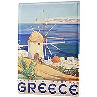 Viaje Por El Mundo Cartel de chapa Placa metal tin sign Grecia Mykonos Letrero Decorativo 20X30 cm