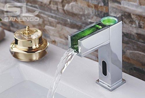 Sanlingo – Waschtisch-Sensorarmatur, Mischbatterie, Batteriebetrieb, Wasserfall, LED-Beleuchtung, Chrom - 2