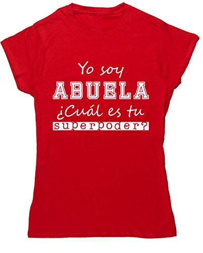 Hippowarehouse Yo Soy Abuela, ¿Cuál es tu Superpoder? Camiseta Manga Corta Ajustada para Mujer