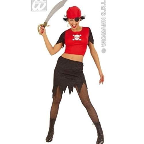 ostüm für Damen, rotes Bandana-Oberteil, schwarzer Rock, Augenflicken, Party, Halloween ()