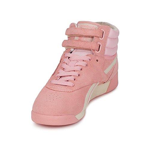 Reebok F/S Hi Da Donna Classico Rosa Pastello/bianco/argento/puro Hi Top Trainers Pink