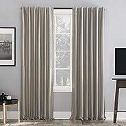 "Sun Zero Greyson Faux Dupioni Silk Extreme 100% Blackout Back Tab Curtain Panel, 50"" x 95"", S"