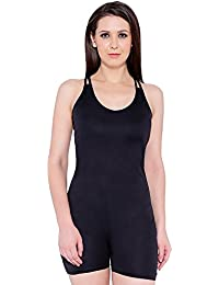 Nidhi Munim Women's Cross Back in Passionate Black Swimsuit with Pacer Legs