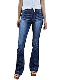 55217e381187 SODIAL Donna Elastico in Vita Elastica Jeans A Gamba Larga Donna Casual  Pantaloni A Zampa Lavata