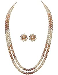 Classique Designer Silver Alloy With Gold Plated Button Pearl Necklace Set For Women(CP033)